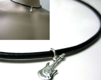 Leather and sterling silver guitar N3183 necklace