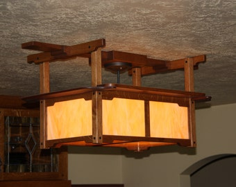 Mission Ceiling Light - Oak and Mahogany