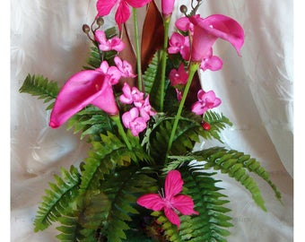 composition lilies and artificial orchids, butterfly colors available to customize