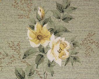 1940s Vintage Wallpaper Yellow Roses on Green by the Yard
