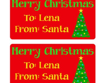 Personalized Merry Christmas From Santa - Christmas Present Tags Christmas Gift Labels - Tree 002