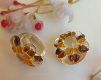 set of 4 glass flower beads