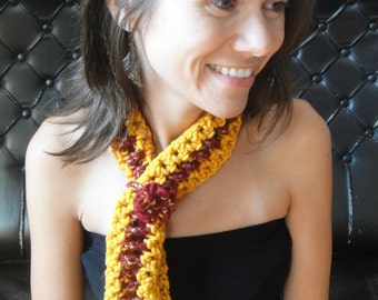 Tie Scarf  Knit in mustered Yellow and  Burgundy Red, Sparkling, Skinny, Neckwarmer, Scarflette