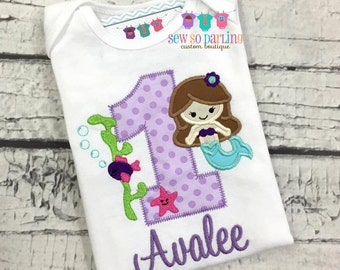 Baby girl mermaid birthday outfit - baby girl mermaid 1st birthday shirt - Birthday Mermaid Shirt - 1st birthday under the sea