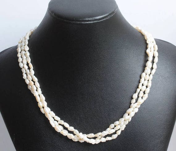 Three Strand Freshwater Pearl Necklace Vintage Wedding Special Occasion