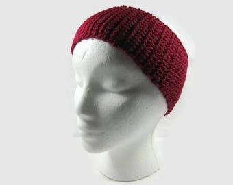 Dark Rose Crochet Cotton Ear Warmer One Size Fits Most