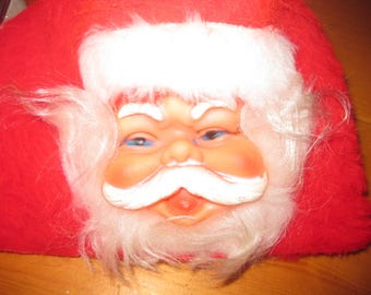Vtg Old face Santa thick plush red kleenix box cover or toliet paper roll rubber  face old face free ship