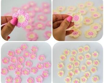 Crochet small flowers, wedding favors, Mini appliqués, Tiny Crochet Flowers, crochet flower, Scrapbook, ivory, pink, Set of 12