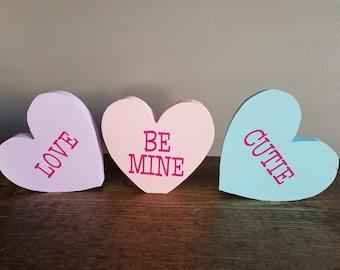 Conversation Heart Decor ~ Happy Valentine's Day Decor ~ Heart Decor ~ Stackable Hearts ~ Cute Decor