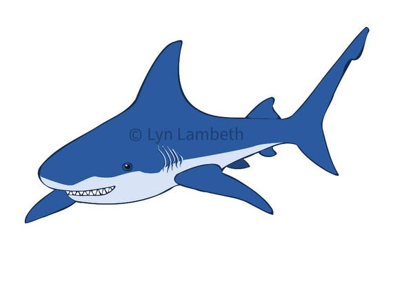 shark clip art instant download commercial use blue shark rh etsy com cute shark clipart