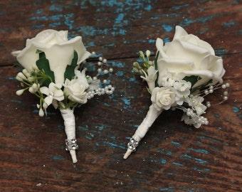 2x Foam rose corsage buttonholes