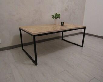 Table low industrial acacia chevron