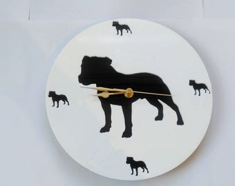 Staffordshire Bull Terrier Cut Out Acrylic Clock