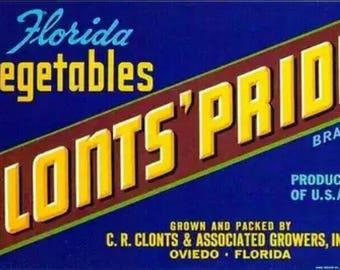 Pair of Matching Original Vintage 1940s Clonts' Pride Vegetable Crate Labels