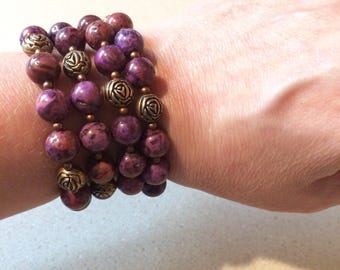 Purple crazy lace agate bracelet memory wire copper flower beads bronze wire