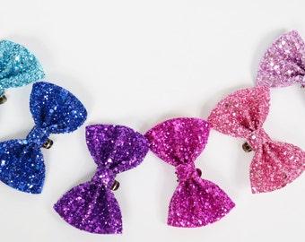 Aqua Blue, Royal Blue, Purple, Fuchsia, Bubblegum and Powder Pink bow Shoe Clips (set of two), handmade in the UK