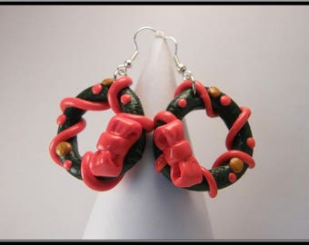 Earrings in polymer clay Christmas wreath...
