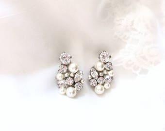 Wedding Earrings, Pearl Bridal Earrings, Rhinestone bridal earrings, Pearl earrings for bride, Swarovski Earrings, DREAMER