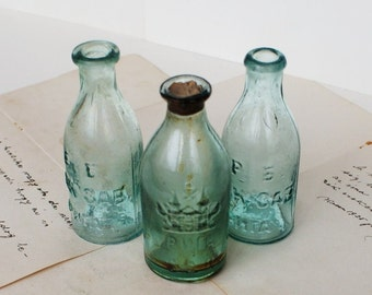 Antique Small Russian Apothecary Bottles - Craft Supply - 1900's