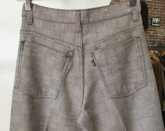 "Vintage Levi's Sta Prest Checkered Pants Slacks Creased Mens 28"" waist 33"" inseam Rare"