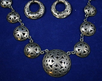 1940's Vintage Mexican Silver Necklace and Earrings Cutout domes Signed JGT