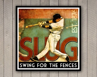 "Baseball Print ""Swing for the Fences"" 12x12 Inspirational Baseball Poster in Rust Green Cream"