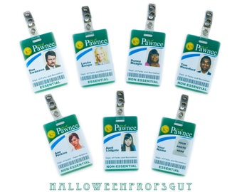 Parks and Rec Style ID Card w/ Clip Choice of Charactor: Ron Swanson, Leslie Knope, Ann Perkins, April Ludgate, Donna Meagle, Tom Haverford