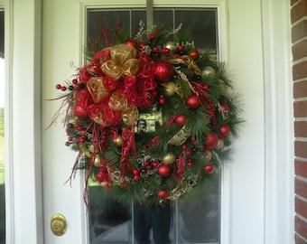 Christmas Wreath, Holiday Wreath, Front Door Wreath, Designer Wreath, Home Decor, Ready to Ship Wreath