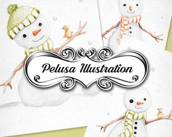 Winter Collection colored pencil drawing image instant download - Pelusa Illustration