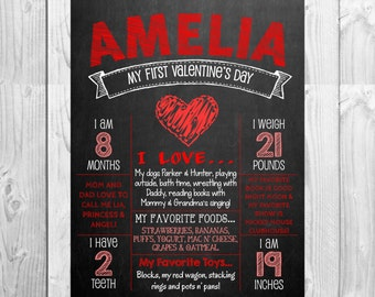 Printable My First Valentine's Day Chalkboard Photo Prop Sign | Size: 11x14 | *Digital File* | by MMasonDesigns