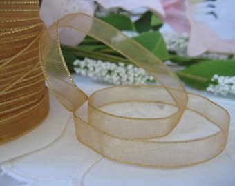 Gold Sheer Organza with Gold Edge Ribbon for Wedding, Quinceanera, Baptism, Crafting, Tags, Party Favor, Sewing, 1/4 inch, 50 yards