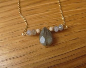 gemstone necklace and labradorite beads