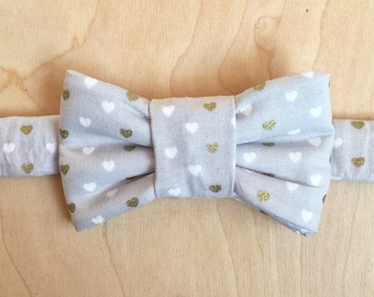 Valentine's Grey & Gold Heart Print Bow Tie For Cats