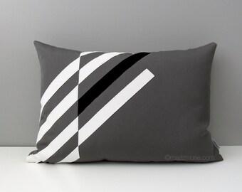 Black White & Grey OUTDOOR Pillow Cover, Modern Geometric, Decorative Throw Pillow Case, Gray Masculine Decor, Sunbrella Cushion, Mazizmuse