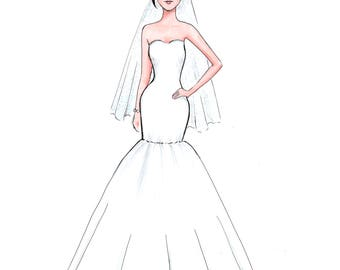 Custom Wedding Dress Print,Bride Illustration,Wedding Gown Print,Custom Drawing Bride Illustration of Flower Girl Sketch,Dress Sketch
