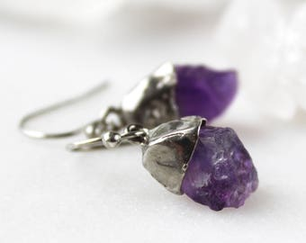 amethyst earrings, raw amethyst, raw gemstone, rough stone, silver earrings, gifts for her,  recycled silver