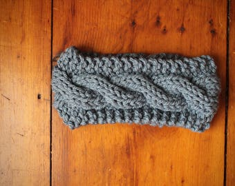Chunky Cabled Ear Warmer | Slate Blue