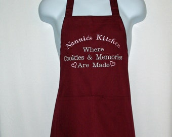Nannie's Kitchen Apron, Where Cookies And Memories Are Made, Custom With Gran, Nannie, No Shipping Fee, Ready To SHIP TODAY, AGFT 943