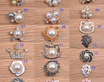 Rhinestone Button, pearl Rhinestone Button, DIY Supplies (You Pick 5pcs/same style)