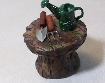 Fairy or gnome Garden miniature wood look table, hand sculpted from polymer clay