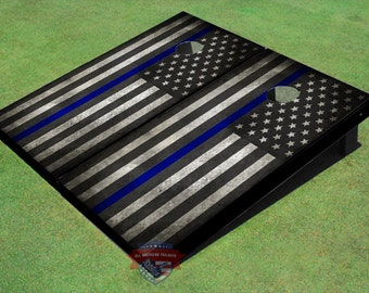 "All Weather - American Flag Black And White With ""Thin Blue Line"" Themed Cornhole Boards"