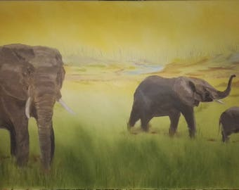"""Elephants On The Savannah 40x20"""" Oil Painting"""