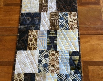 Blue, Brown and Beige Batik Table Runner, Quilted Modern Table Runner, Patchwork Table Topper, Quiltsy Handmade
