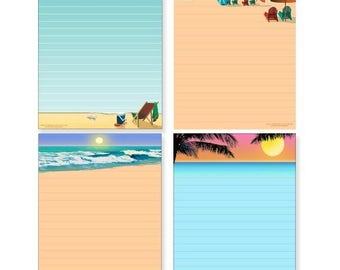 Beach Note Pad Pack - 4 Assorted Beach Theme Pads - 606