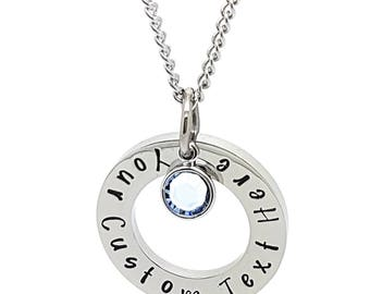 Personalised Jewellery, Personalised Necklace, Family Necklace, Custom Text Hand Stamped Necklace with Birthstone Charm