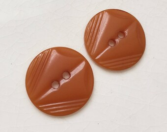 art deco eco friendly vintage celluloid mustard orange buttons with impressed design--matching lot of  lot of 2