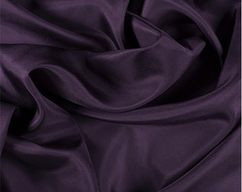 Aubergine Silk Crepe de Chine, Fabric By The Yard