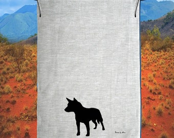 The Cattle Dog Blue Heeler Linen Tea Towel Hand Printed Free Shipping Australia Wide.