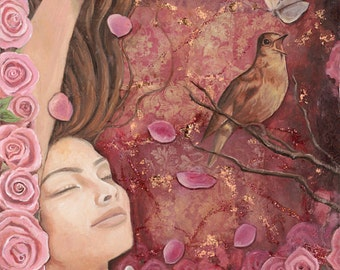 """Call of the Nightingale  - Reproduction Giclee on canvas 18""""x36"""""""