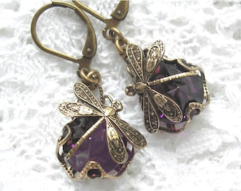 Amethyst Dragonfly Earrings- Filigree Wrapped Earrings- Morning Glory Designs
